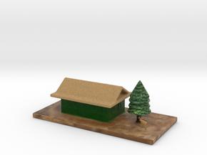 Cartoon House Chrismas Tree & Deer Full Color in Full Color Sandstone