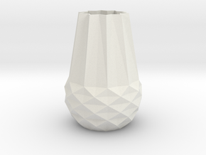 Stylish Faceted Designer Vase - 100mm Tall in White Natural Versatile Plastic