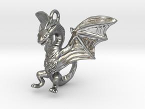 Dragon Pendant in Natural Silver