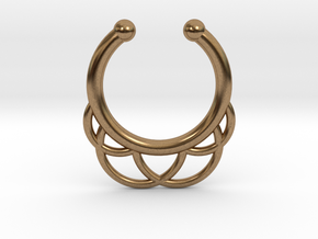 Faux Septum Ring - outer semicircles in Natural Brass
