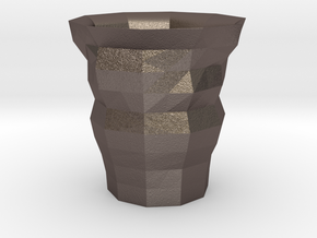 Polygon Cup in Polished Bronzed Silver Steel