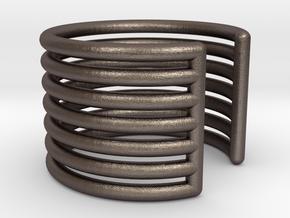 Ear Cuff - rods in Polished Bronzed Silver Steel