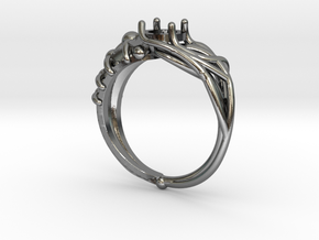 Duality Ring in Polished Silver