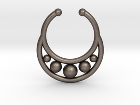Faux Septum Ring - peapod in Polished Bronzed Silver Steel