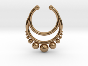 Septum dropped ring with spheres under in Polished Brass