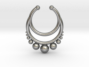 Septum dropped ring with spheres under in Natural Silver