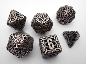 Ring Dice Set in Polished Bronzed Silver Steel