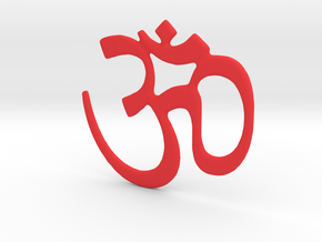 Om Symbol - 4 Inches in Red Processed Versatile Plastic