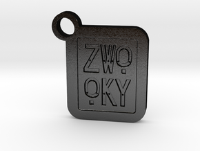 ZWOOKY Keyring LOGO 14 4cm 5mm negativ in Matte Black Steel
