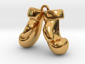 Boxing Gloves pendant in Polished Gold Steel