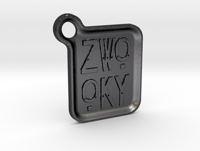 ZWOOKY Keyring LOGO 14 4cm 3mm rounded in Polished Grey Steel