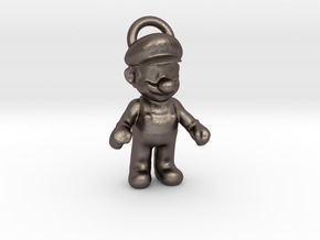 Super Mario - Keychain in Polished Bronzed Silver Steel