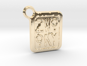 ZWOOKY Keyring LOGO 12 3cm 2mm rounded in 14K Yellow Gold
