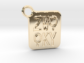 ZWOOKY Keyring LOGO 14 3cm 2mm rounded in 14K Yellow Gold