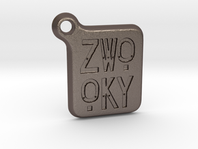 ZWOOKY Keyring LOGO 14 3cm 3mm rounded in Polished Bronzed Silver Steel