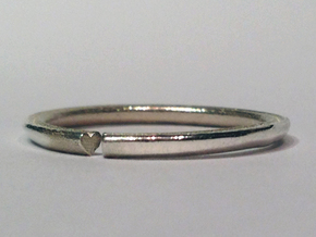 Secret Hidden Heart Ring (Size 7) in Polished Silver