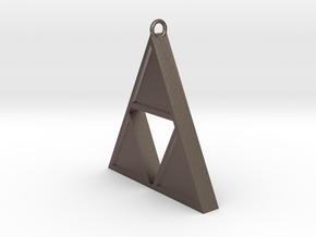 Triforce Pendant in Polished Bronzed Silver Steel