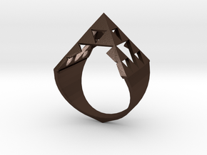 Sierpinski Pyramid Ring in Matte Bronze Steel