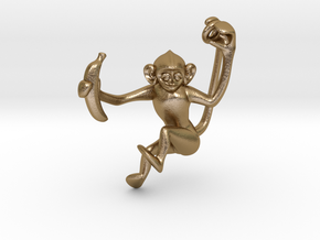 Lucky Monkey in Polished Gold Steel