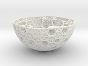 Cell Sphere 9 - Hex Pent Bowl in White Strong & Flexible