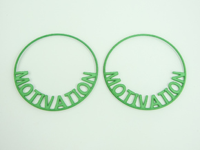 Custom Hoop Earrings - Motivation 60mm in Green Processed Versatile Plastic