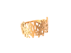 LINES RING size 6 in Natural Brass