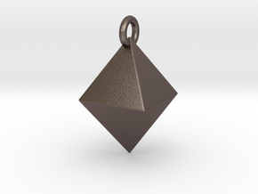 Diamond (Octahedron) Pendant VI-08-0003-1001 in Polished Bronzed Silver Steel