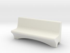 HO Scale Concrete Bench in White Natural Versatile Plastic