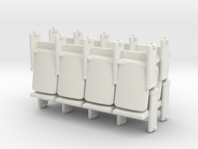 4 X 4 Theater Seats HO Scale in White Natural Versatile Plastic