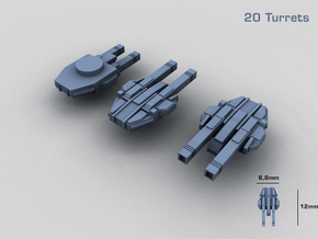 20 Starship twin turrets – MECHWORLD HOMEFLEET in Frosted Ultra Detail