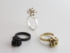 Quadro Ring - US 7 in Natural Brass