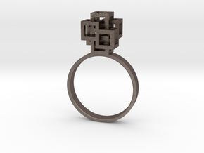 Quadro Ring - US 7 in Polished Bronzed Silver Steel
