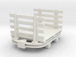 1:35 or Gn15 small skip based flat wagon slatted e in White Natural Versatile Plastic