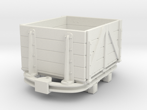 1:35 or Gn15 small skip based dropside wagon in White Natural Versatile Plastic