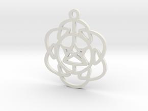 Vibrations Pendant in White Natural Versatile Plastic
