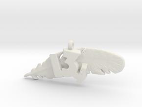 13.1 HALF MARATHON FEATHER NECKLACE in White Natural Versatile Plastic
