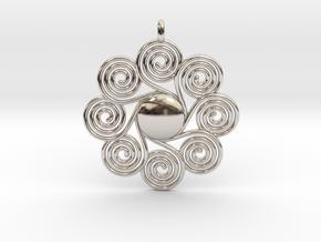 SPIRAL SUN Designer Jewelry Pendant in Platinum