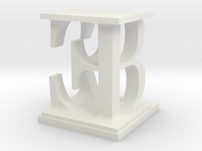 Two way letter / initial B&E in White Natural Versatile Plastic