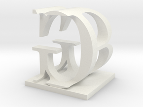 Two way letter / initial B&G in White Natural Versatile Plastic