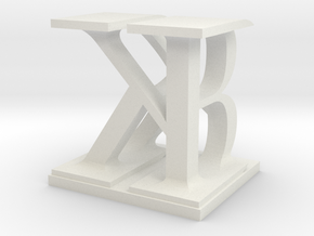 Two way letter / initial B&K in White Natural Versatile Plastic