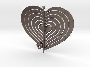 Heart Swap Spinner Flat - 15cm in Polished Bronzed Silver Steel