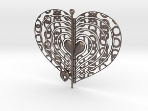 Heart Swap Spinner Ringlets -15cm in Polished Bronzed Silver Steel