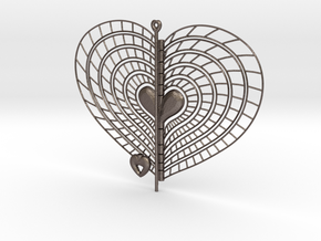 Heart Swap Spinner Spiral Ribs - 15cm in Polished Bronzed Silver Steel