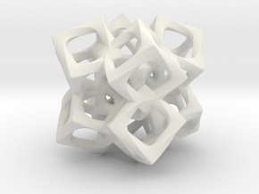 Fused Cubes 2 Smaller in White Natural Versatile Plastic