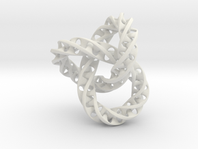 Fused  Interlocked Mobius Infinity Knot Smaller in White Natural Versatile Plastic