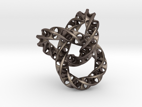 Fused  Interlocked Mobius Infinity Knot Smaller in Polished Bronzed Silver Steel