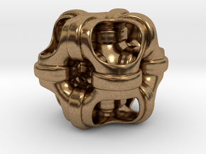 Hollowed out cube looped and piped. #1 Smaller in Natural Brass