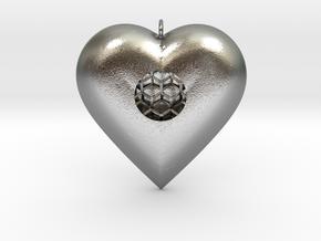 Diamond Heart Pendant in Natural Silver