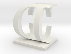 Two way letter / initial C&D in White Natural Versatile Plastic