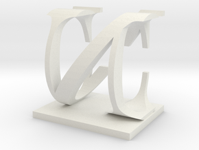 Two way letter / initial C&N in White Natural Versatile Plastic